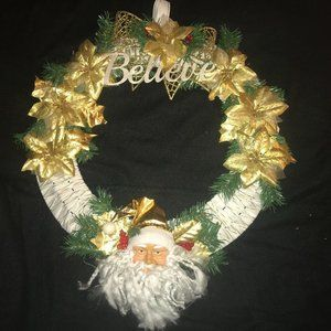 """White and Gold Santa """"Believe"""" Wreath NEW"""